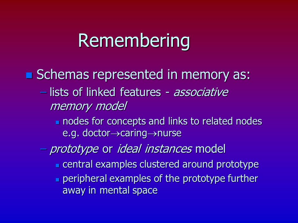 Remembering n Schemas represented in memory as: –lists of linked features - associative memory model n nodes for concepts and links to related nodes e