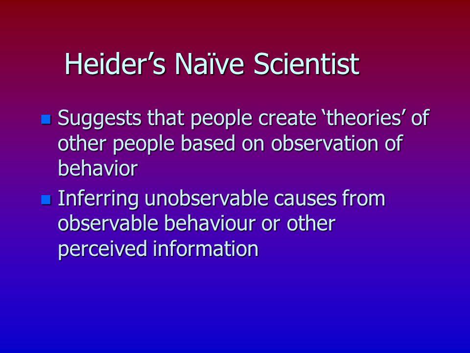 Heiders Naïve Scientist n Suggests that people create theories of other people based on observation of behavior n Inferring unobservable causes from observable behaviour or other perceived information