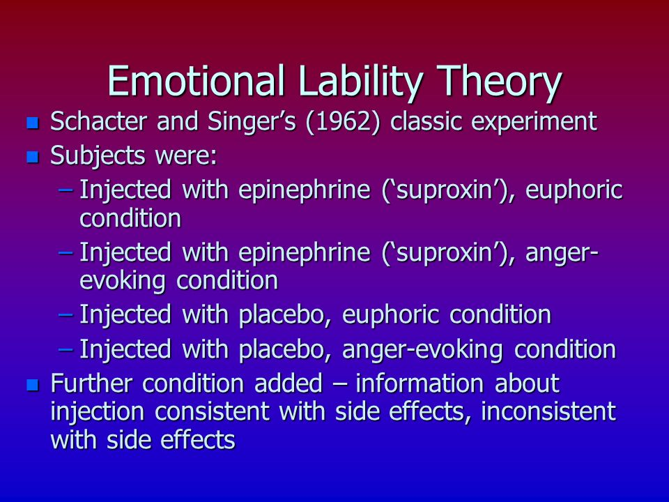 Emotional Lability Theory n Schacter and Singers (1962) classic experiment n Subjects were: –Injected with epinephrine (suproxin), euphoric condition
