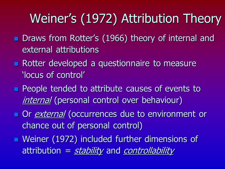 n Draws from Rotters (1966) theory of internal and external attributions n Rotter developed a questionnaire to measure locus of control n People tended to attribute causes of events to internal (personal control over behaviour) n Or external (occurrences due to environment or chance out of personal control) n Weiner (1972) included further dimensions of attribution = stability and controllability Weiners (1972) Attribution Theory