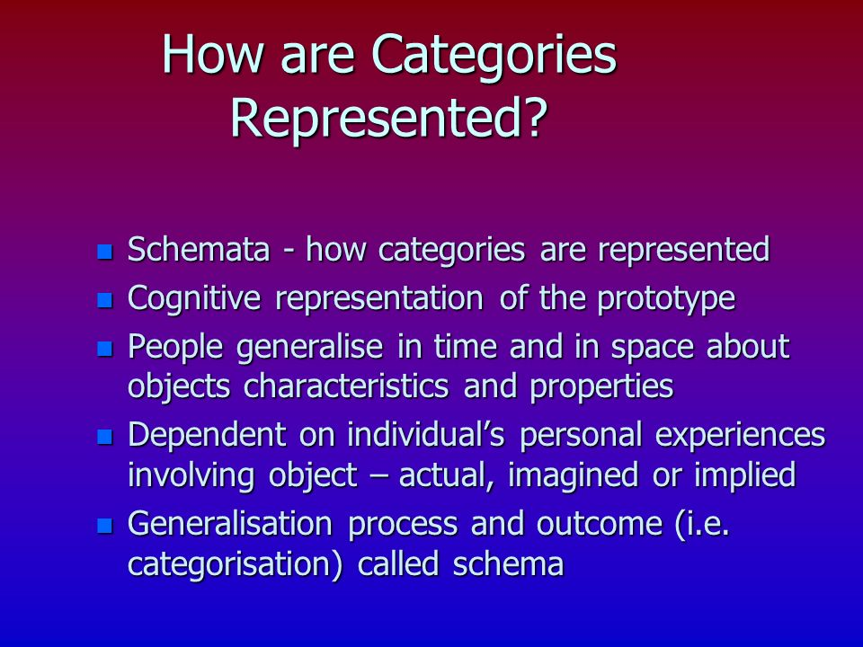 How are Categories Represented.