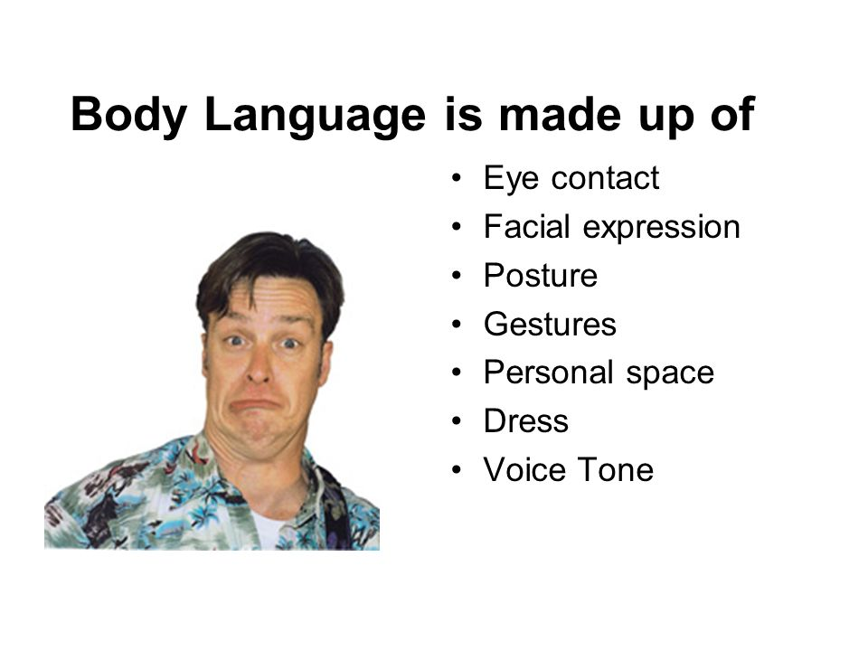 Body Language is made up of Eye contact Facial expression Posture Gestures Personal space Dress Voice Tone