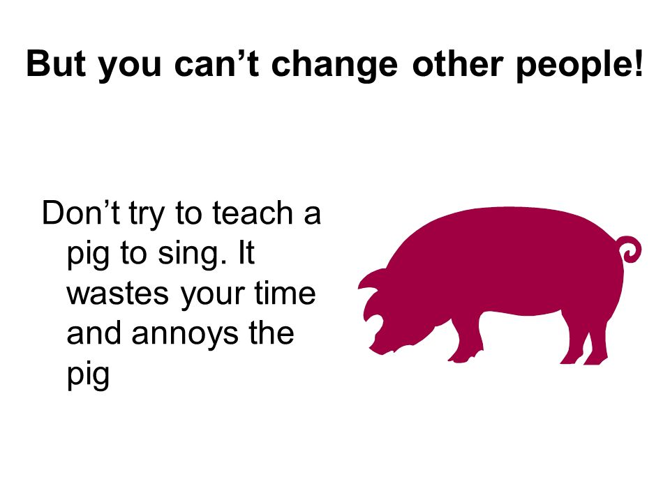 But you cant change other people! Dont try to teach a pig to sing. It wastes your time and annoys the pig