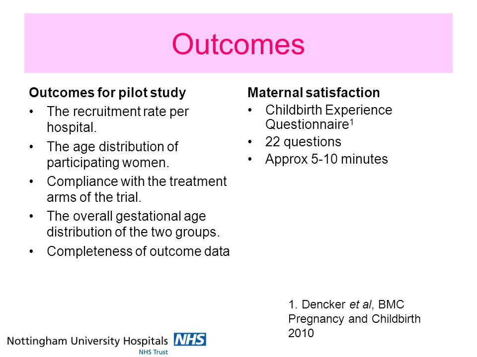 Outcomes Outcomes for pilot study The recruitment rate per hospital.