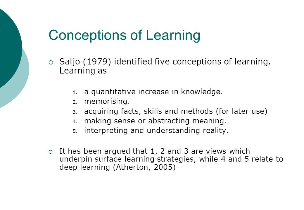 Conceptions of Learning Saljo (1979) identified five conceptions of learning. Learning as 1. a quantitative increase in knowledge. 2. memorising. 3. a