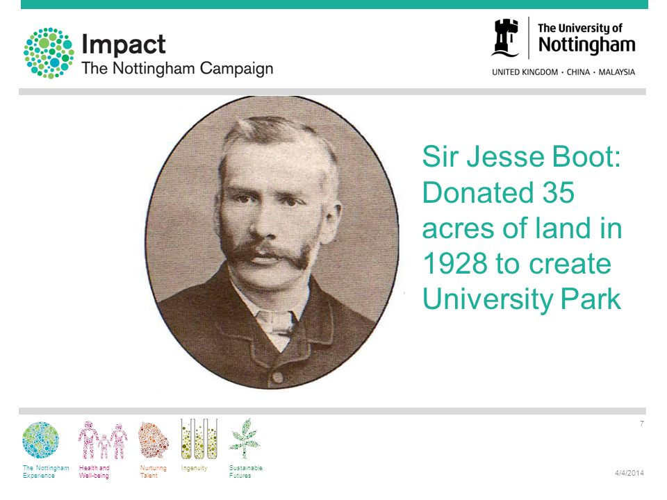 The Nottingham Experience Health and Well-being Nurturing Talent IngenuitySustainable Futures 4/4/2014 7 Sir Jesse Boot: Donated 35 acres of land in 1928 to create University Park