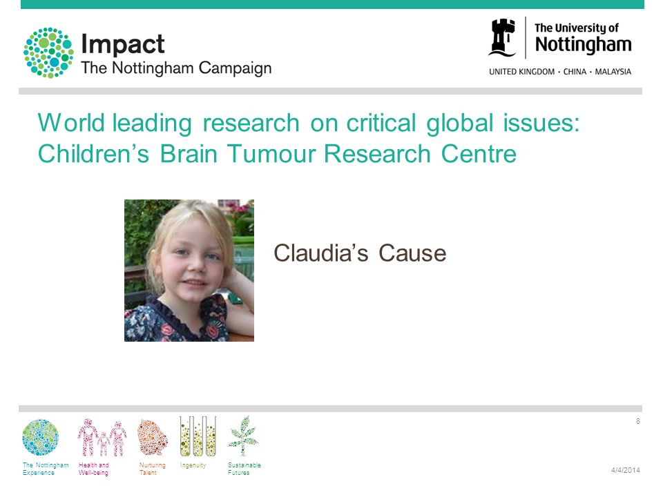 The Nottingham Experience Health and Well-being Nurturing Talent IngenuitySustainable Futures World leading research on critical global issues: Childrens Brain Tumour Research Centre Claudias Cause 4/4/2014 8