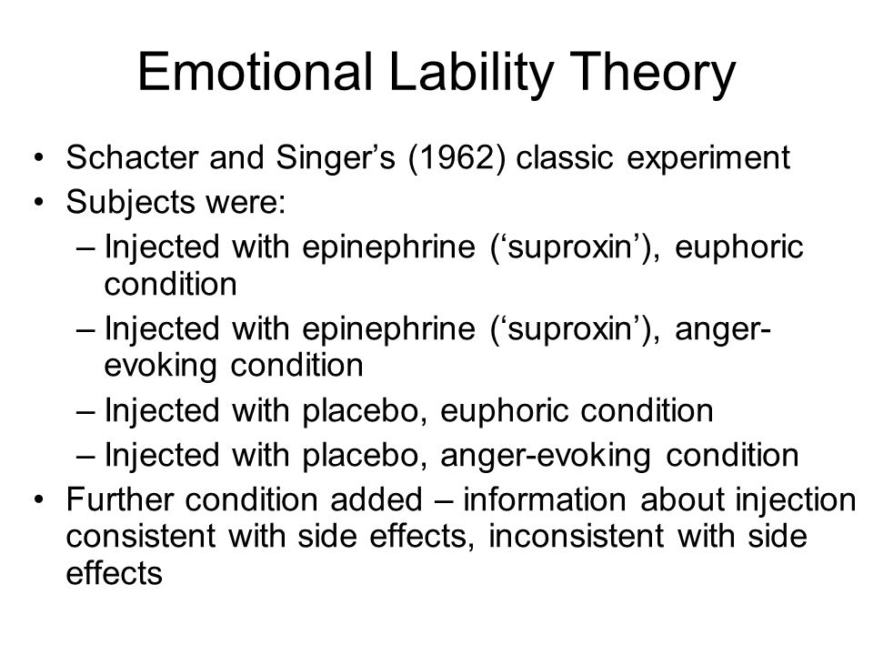Emotional Lability Theory Schacter and Singers (1962) classic experiment Subjects were: –Injected with epinephrine (suproxin), euphoric condition –Injected with epinephrine (suproxin), anger- evoking condition –Injected with placebo, euphoric condition –Injected with placebo, anger-evoking condition Further condition added – information about injection consistent with side effects, inconsistent with side effects