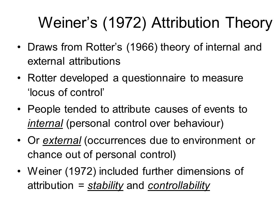 Draws from Rotters (1966) theory of internal and external attributions Rotter developed a questionnaire to measure locus of control People tended to attribute causes of events to internal (personal control over behaviour) Or external (occurrences due to environment or chance out of personal control) Weiner (1972) included further dimensions of attribution = stability and controllability Weiners (1972) Attribution Theory