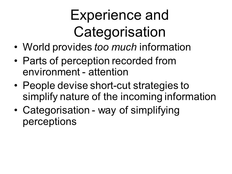 Experience and Categorisation World provides too much information Parts of perception recorded from environment - attention People devise short-cut st