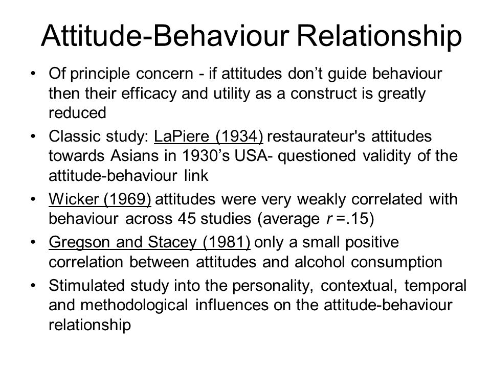 Attitude-Behaviour Relationship Of principle concern - if attitudes dont guide behaviour then their efficacy and utility as a construct is greatly red
