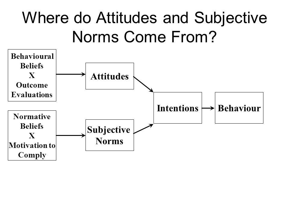 Where do Attitudes and Subjective Norms Come From? Attitudes Subjective Norms IntentionsBehaviour Behavioural Beliefs X Outcome Evaluations Normative
