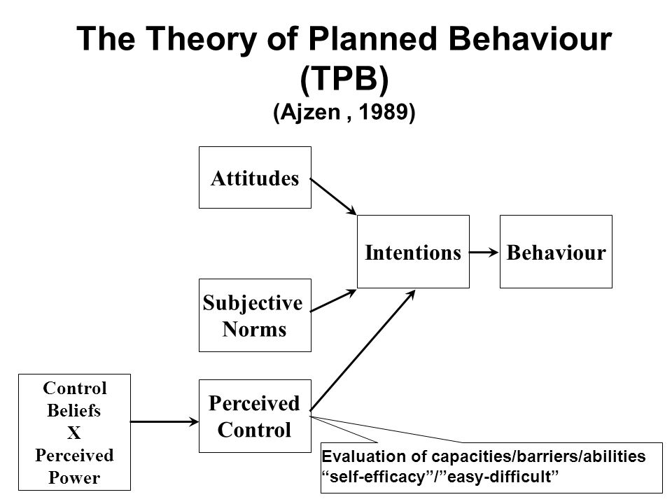Evaluation of capacities/barriers/abilities self-efficacy/easy-difficult The Theory of Planned Behaviour (TPB) (Ajzen, 1989) Perceived Control Attitud
