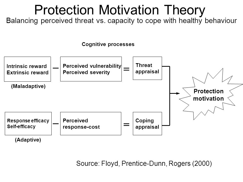 Protection Motivation Theory Balancing perceived threat vs. capacity to cope with healthy behaviour Intrinsic reward Extrinsic reward Source: Floyd, P