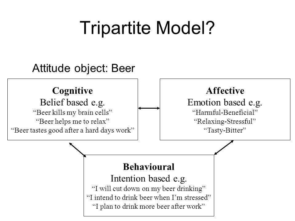 Tripartite Model? Cognitive Belief based e.g. Beer kills my brain cells Beer helps me to relax Beer tastes good after a hard days work Attitude object