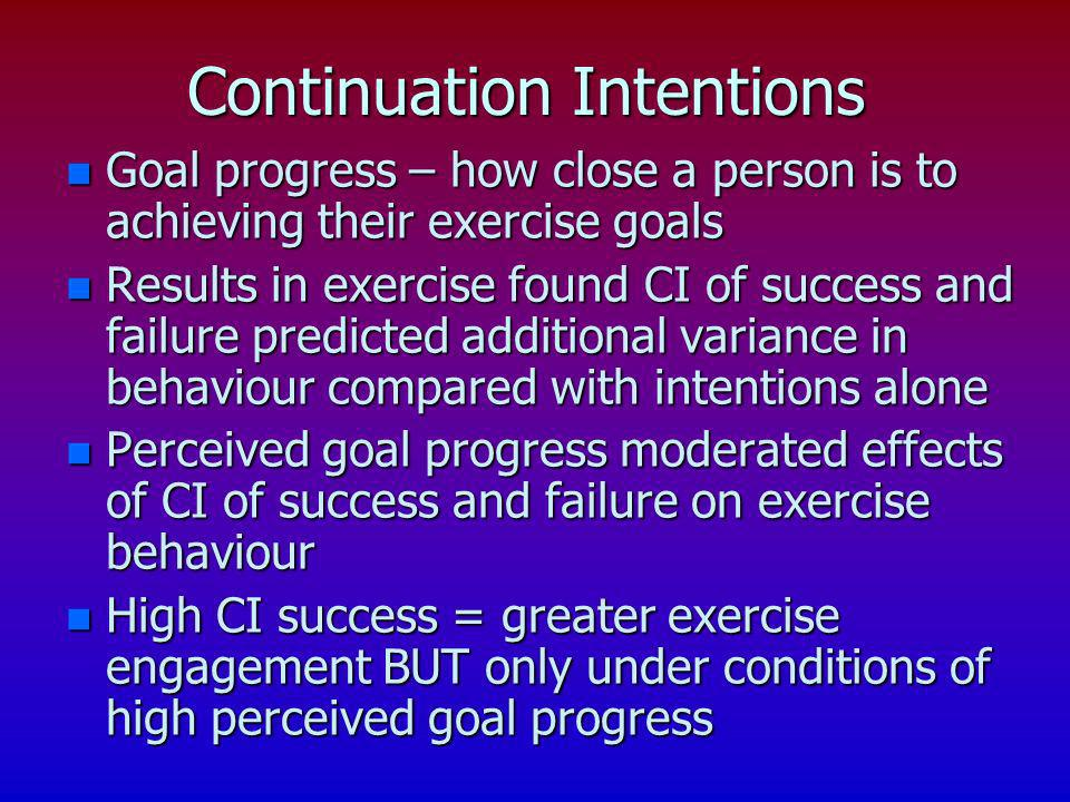 Continuation Intentions n Goal progress – how close a person is to achieving their exercise goals n Results in exercise found CI of success and failur