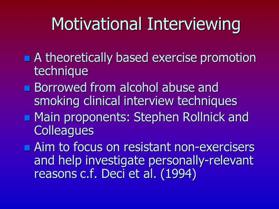 n A theoretically based exercise promotion technique n Borrowed from alcohol abuse and smoking clinical interview techniques n Main proponents: Stephe