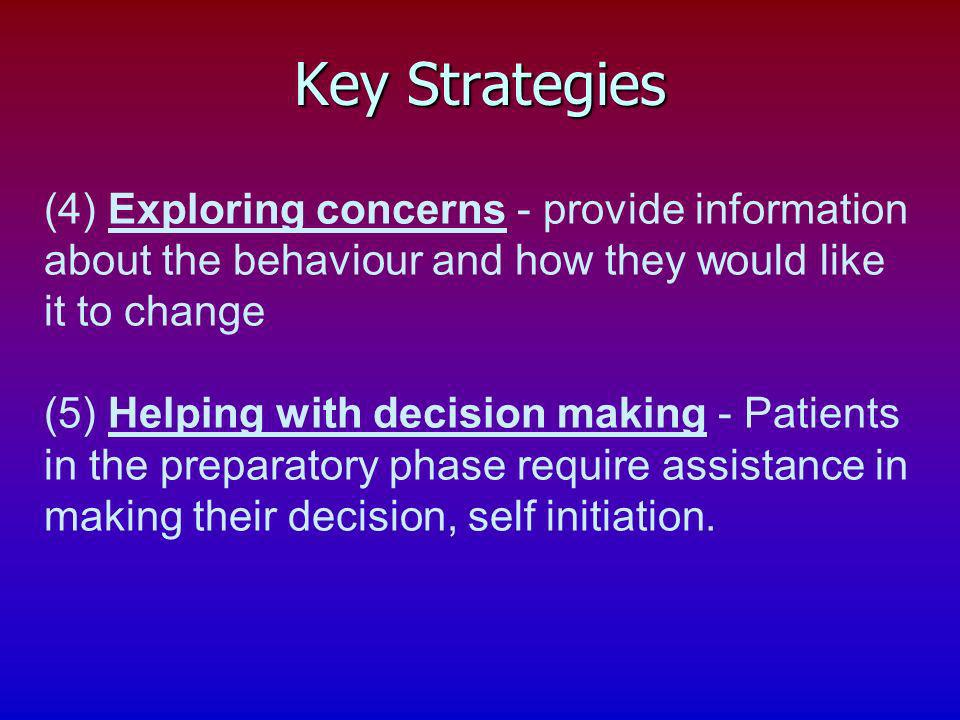 (4) Exploring concerns - provide information about the behaviour and how they would like it to change (5) Helping with decision making - Patients in t