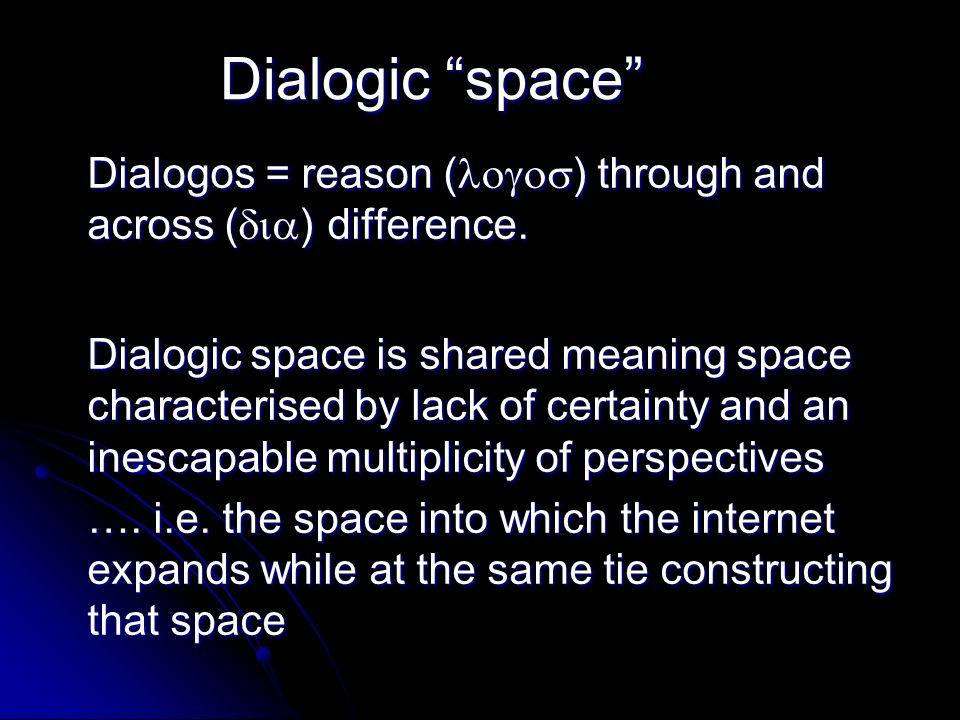 Dialogic space Dialogos = reason ( ) through and across ( ) difference.