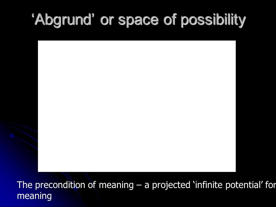 Abgrund or space of possibility The precondition of meaning – a projected infinite potential for meaning