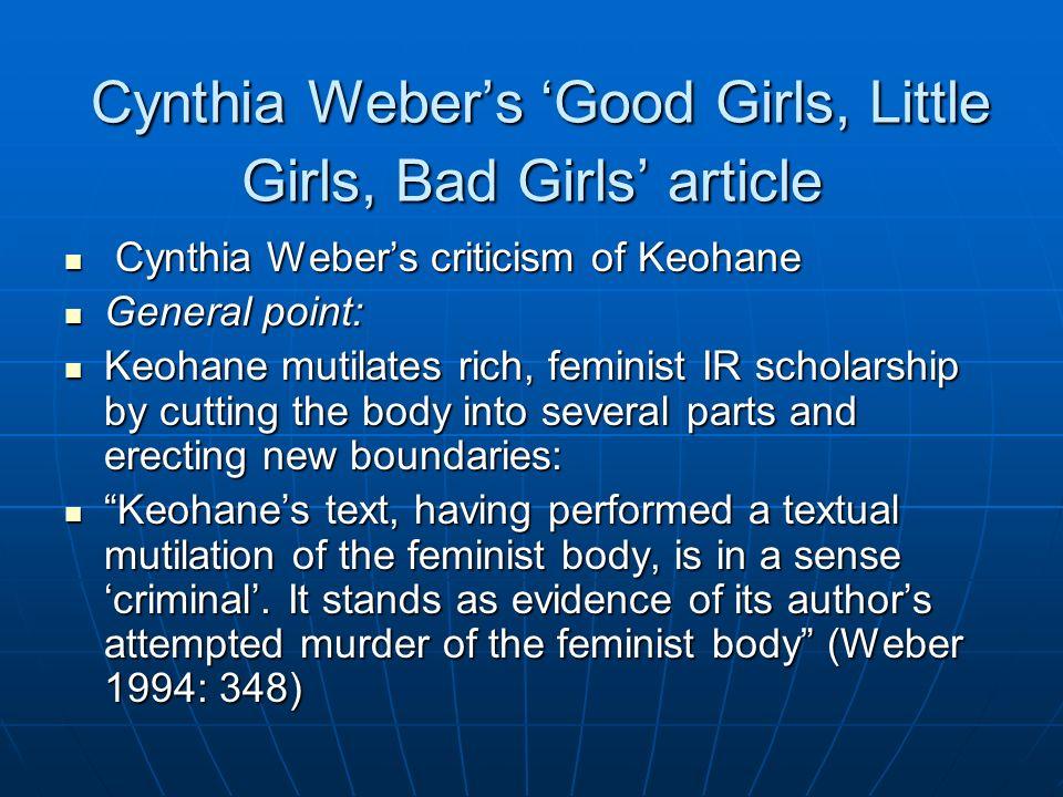 Cynthia Webers Good Girls, Little Girls, Bad Girls article Cynthia Webers Good Girls, Little Girls, Bad Girls article Cynthia Webers criticism of Keoh
