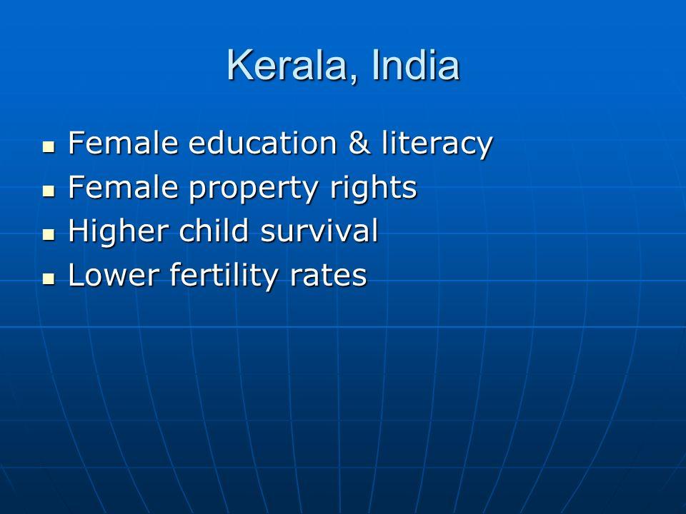 Kerala, India Female education & literacy Female education & literacy Female property rights Female property rights Higher child survival Higher child