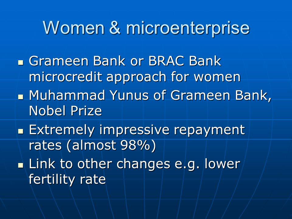 Women & microenterprise Grameen Bank or BRAC Bank microcredit approach for women Grameen Bank or BRAC Bank microcredit approach for women Muhammad Yun