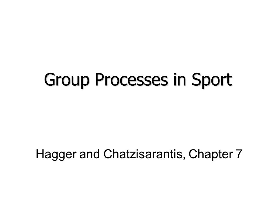 Hagger and Chatzisarantis, Chapter 7 Group Processes in Sport
