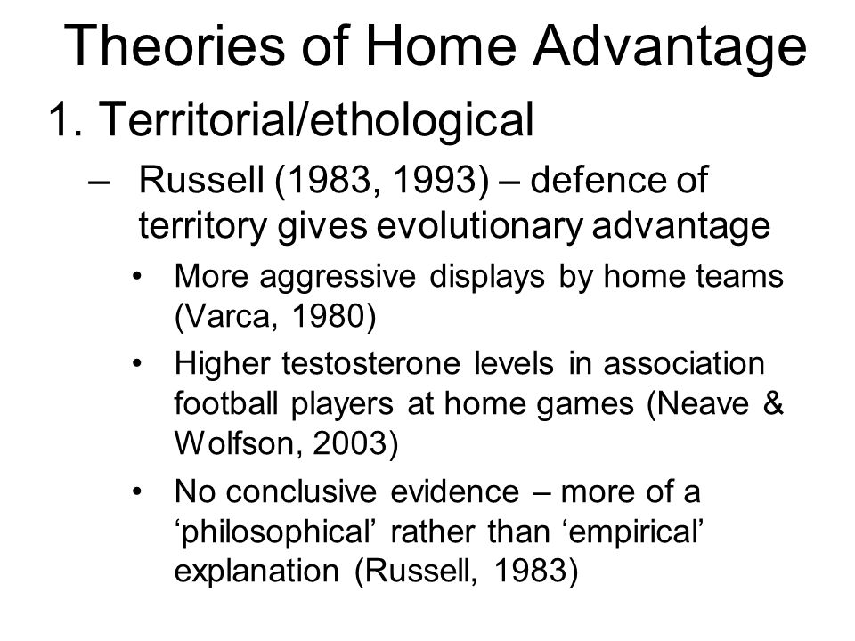 Theories of Home Advantage 1.
