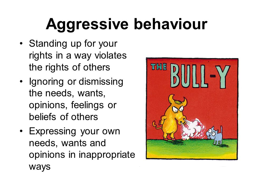 Aggressive behaviour Standing up for your rights in a way violates the rights of others Ignoring or dismissing the needs, wants, opinions, feelings or