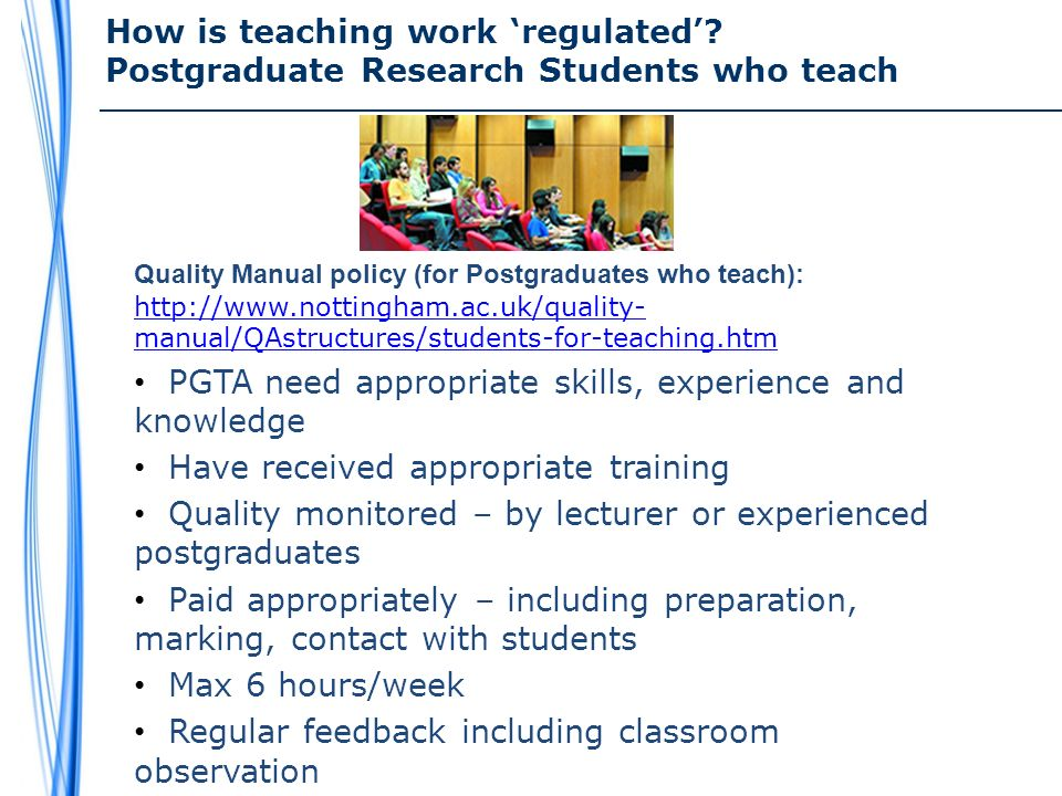 How is teaching work regulated.