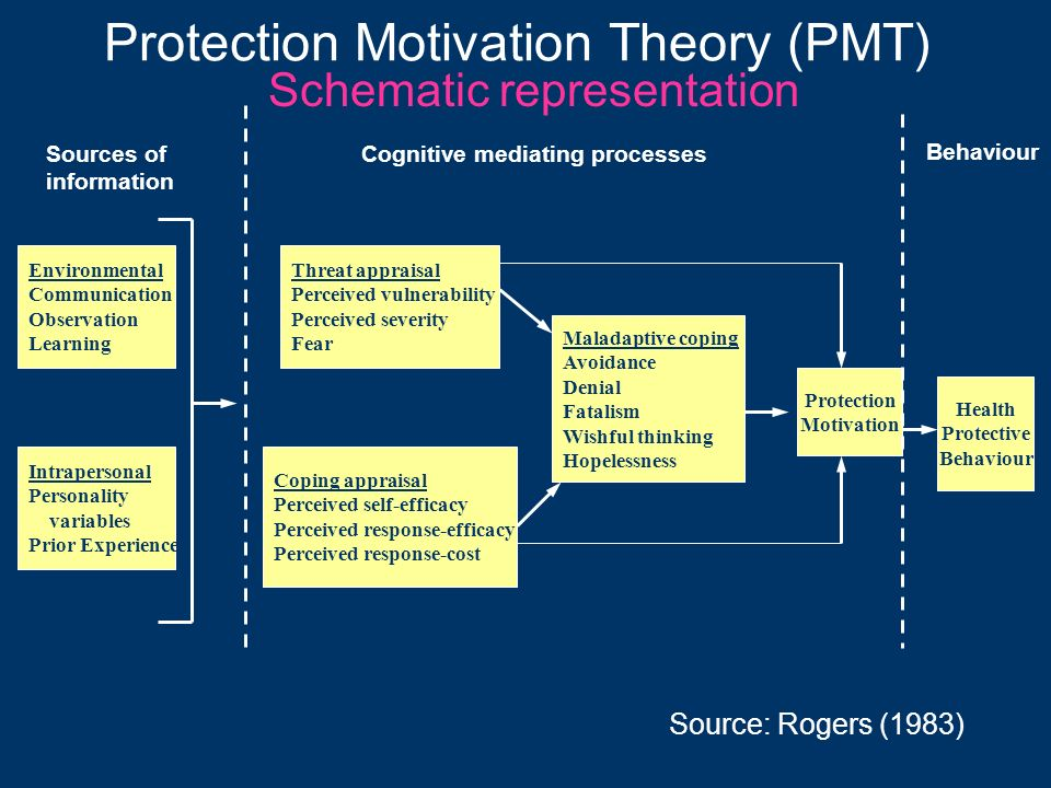 Protection Motivation Theory (PMT) Schematic representation Environmental Communication Observation Learning Health Protective Behaviour Source: Roger