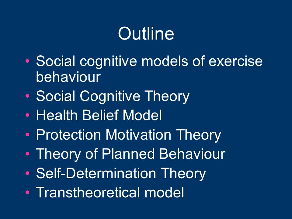 Outline Social cognitive models of exercise behaviour Social Cognitive Theory Health Belief Model Protection Motivation Theory Theory of Planned Behav