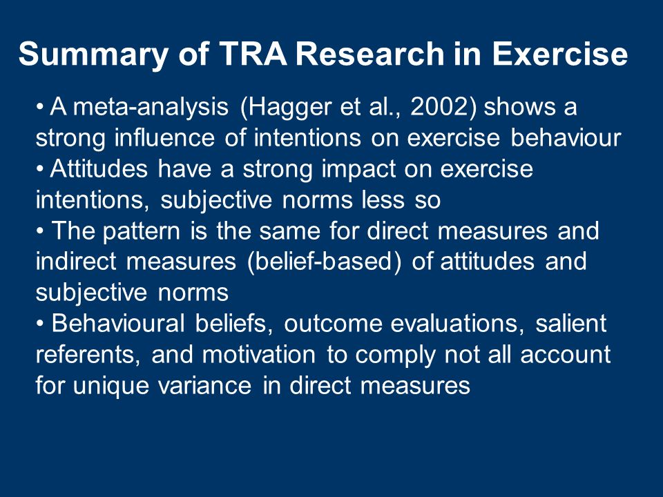 A meta-analysis (Hagger et al., 2002) shows a strong influence of intentions on exercise behaviour Attitudes have a strong impact on exercise intentio