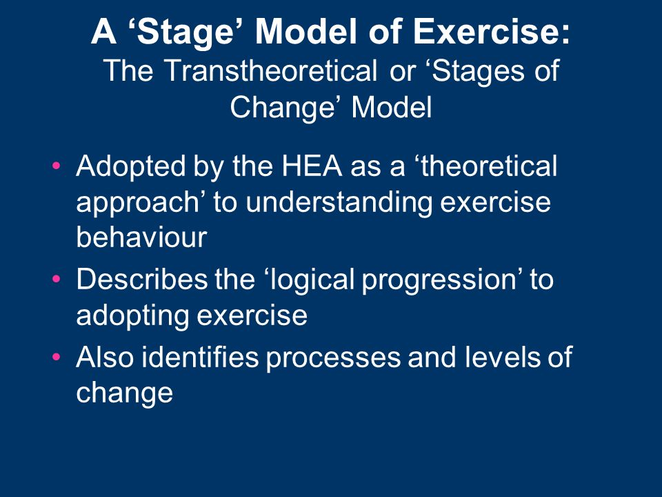 A Stage Model of Exercise: The Transtheoretical or Stages of Change Model Adopted by the HEA as a theoretical approach to understanding exercise behav