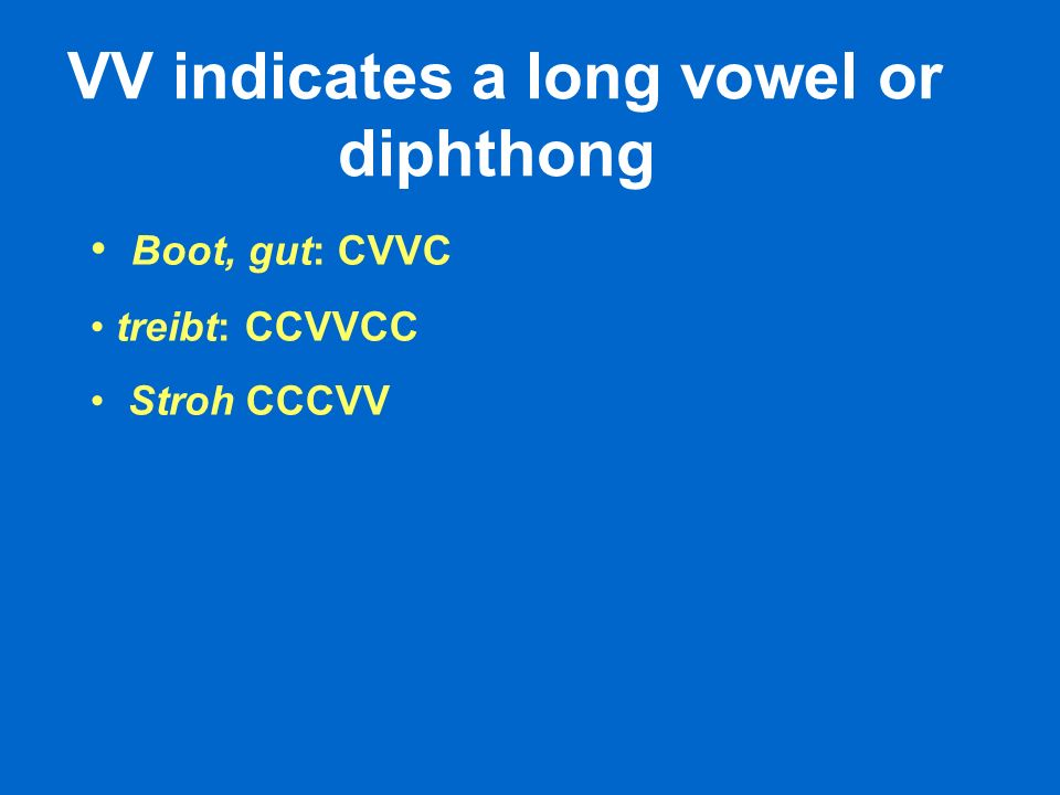 VV indicates a long vowel or diphthong Boot, gut: CVVC treibt: CCVVCC Stroh CCCVV