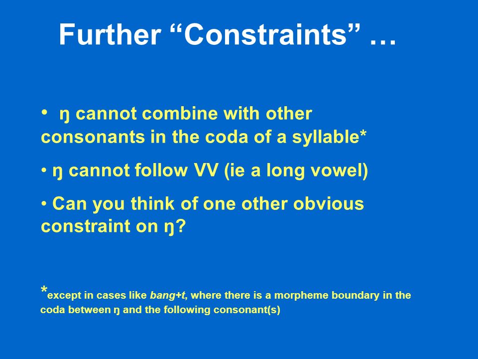 Further Constraints … ŋ cannot combine with other consonants in the coda of a syllable* ŋ cannot follow VV (ie a long vowel) Can you think of one other obvious constraint on ŋ.