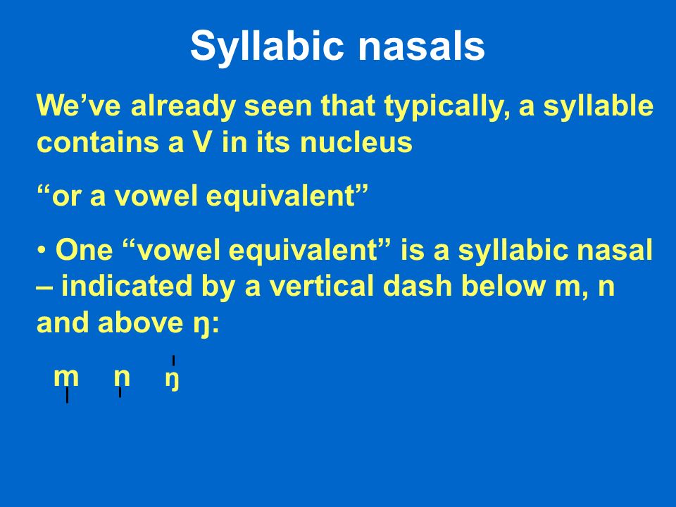 Syllabic nasals Weve already seen that typically, a syllable contains a V in its nucleus or a vowel equivalent One vowel equivalent is a syllabic nasal – indicated by a vertical dash below m, n and above ŋ: m n ŋ