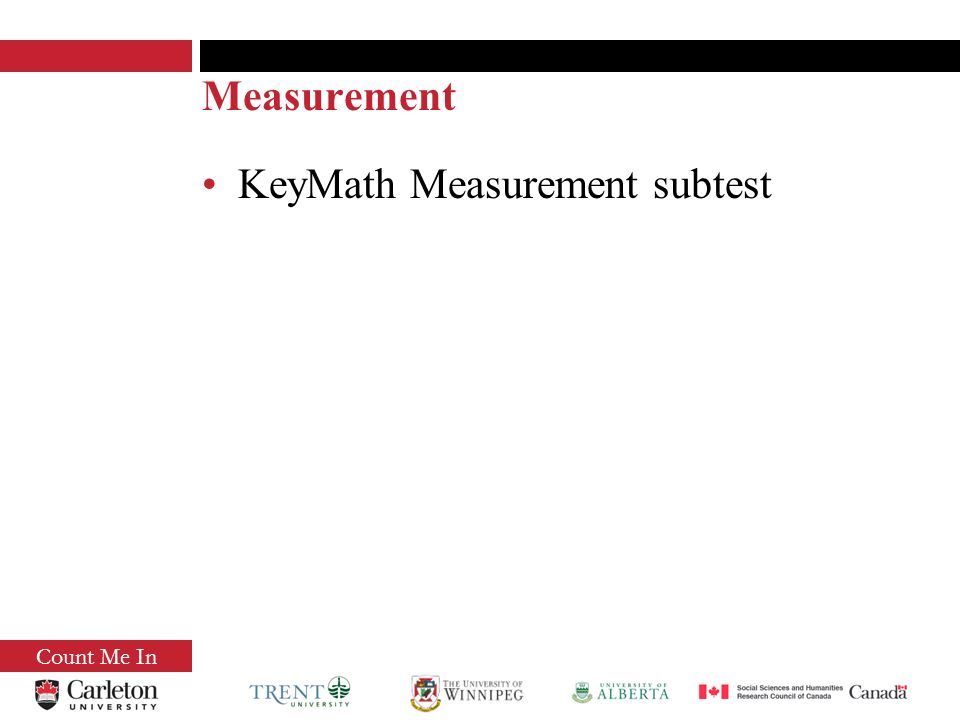 Count Me In Measurement KeyMath Measurement subtest