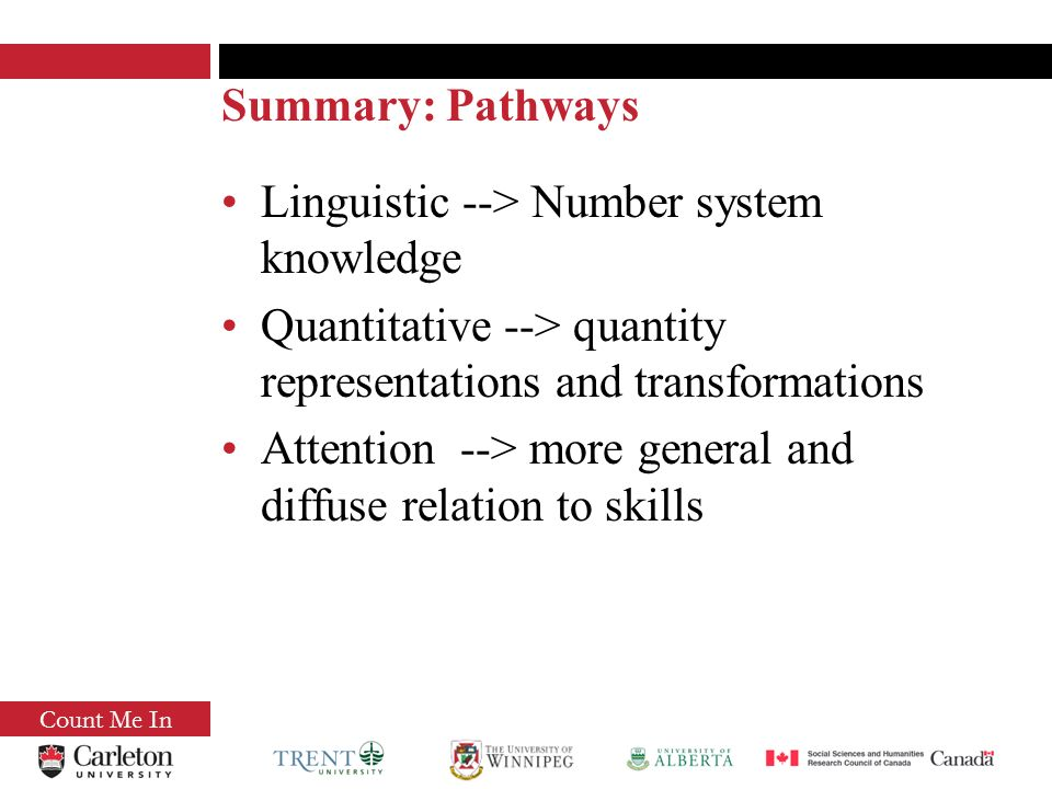 Summary: Pathways Linguistic --> Number system knowledge Quantitative --> quantity representations and transformations Attention --> more general and diffuse relation to skills