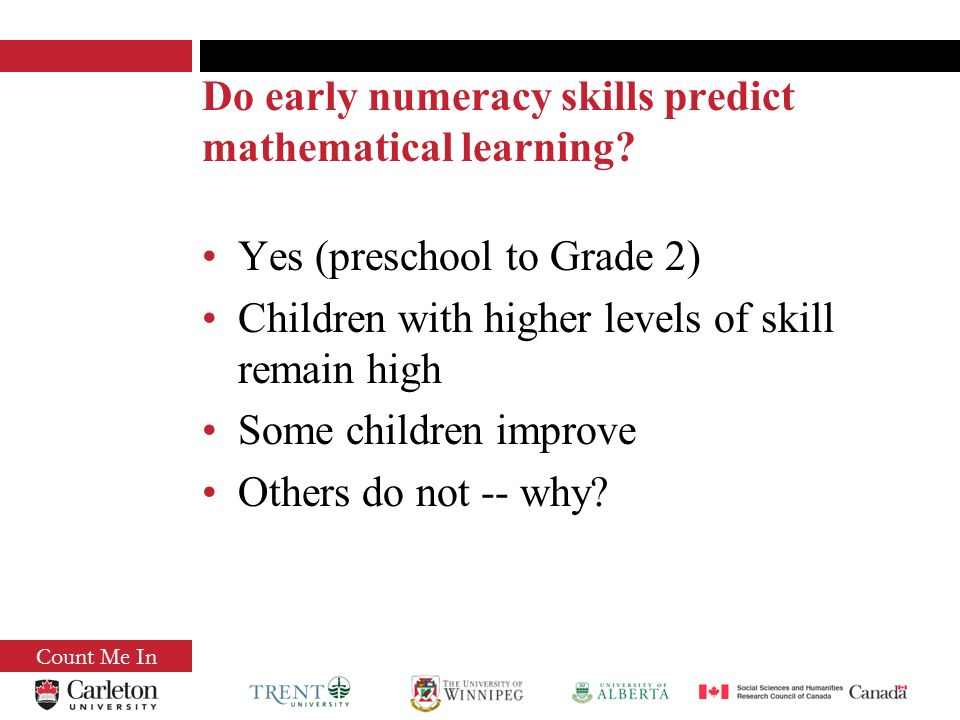 Count Me In Are there cognitive precursors that predict the acquisition of numeracy.
