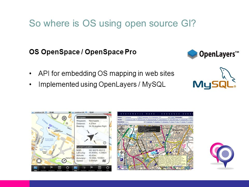 So where is OS using open source GI? OS OpenSpace / OpenSpace Pro API for embedding OS mapping in web sites Implemented using OpenLayers / MySQL