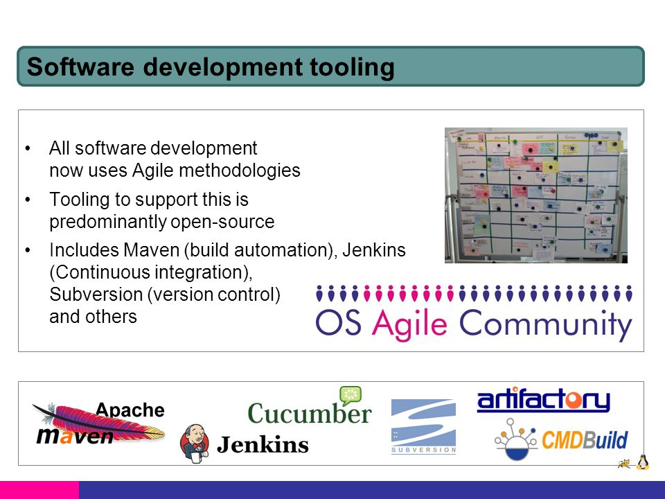 All software development now uses Agile methodologies Tooling to support this is predominantly open-source Includes Maven (build automation), Jenkins (Continuous integration), Subversion (version control) and others Software development tooling