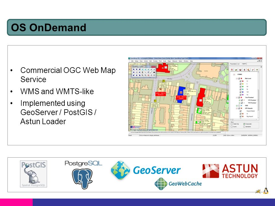 API for embedding OS mapping in web sites Implemented using OpenLayers / MySQL Will be migrating to OnDemand infrastructure OS OpenSpace / OpenSpace Pro