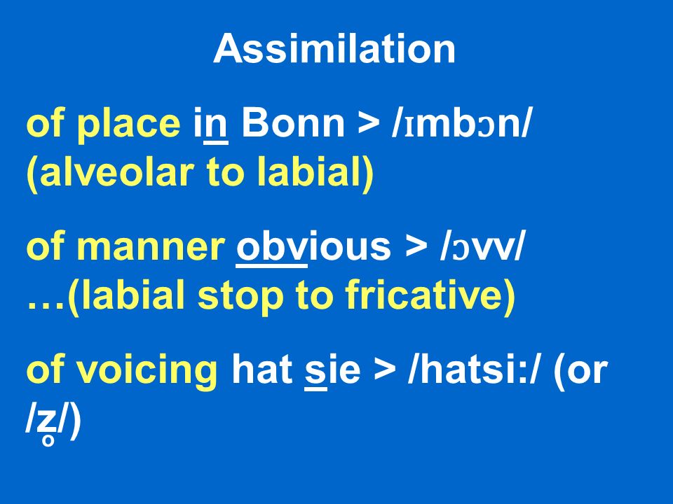 Assimilation of place in Bonn > / ɪ mb ɔ n/ (alveolar to labial) of manner obvious > / ɔ vv/ …(labial stop to fricative) of voicing hat sie > /hatsi:/