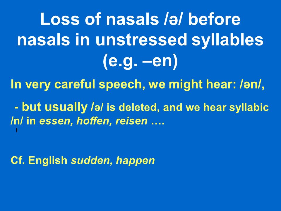 Loss of nasals /ə/ before nasals in unstressed syllables (e.g. –en) In very careful speech, we might hear: /ən/, - but usually / ə/ is deleted, and we