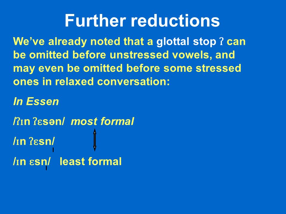 Further reductions Weve already noted that a glottal stop ʔ can be omitted before unstressed vowels, and may even be omitted before some stressed ones