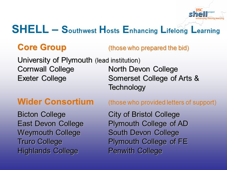 Improve administration – with single registration for all co-registering students and rapid, efficient transfer of data between partners Support VLE Development & Integration – with timely student access to partner VLE course materials, and a mechanism for transfer of results back to partner institutions Support lifelong learning – by providing access to consortium learner records for all students registered after the start of the project Project aims