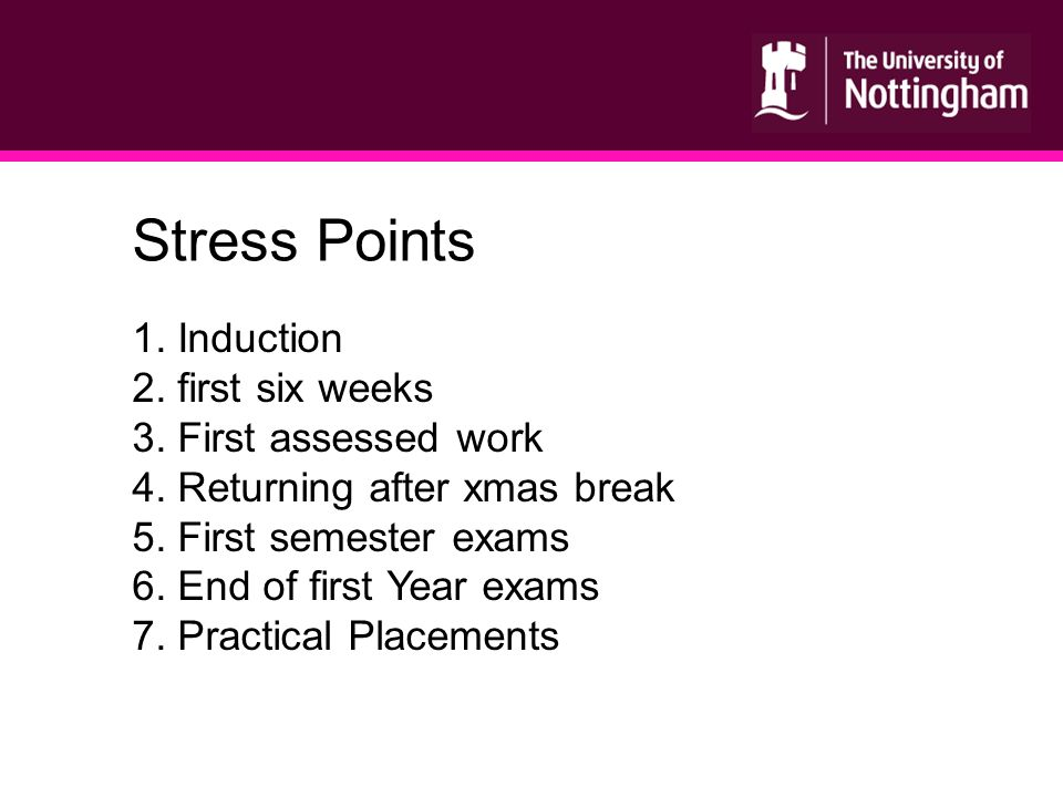 1. Induction 2. first six weeks 3. First assessed work 4.