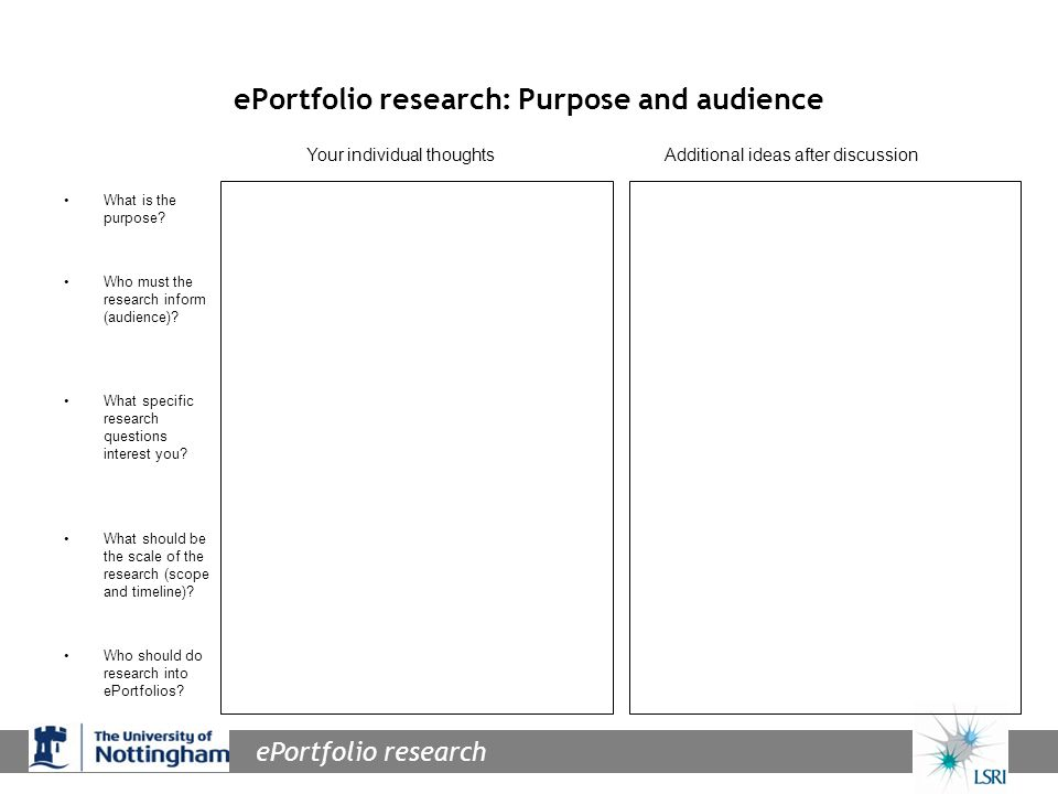 ePortfolio research ePortfolio research: Purpose and audience What is the purpose.